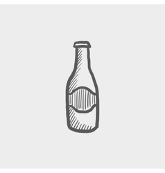 Light beer bottle sketch icon vector