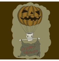 Pumpkin balloon with skull vector
