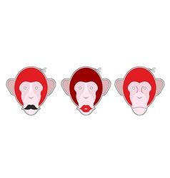 Set mask red monkey monkey with moustache monkey vector