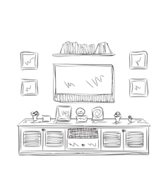 Hand drawn furniture sketch vector