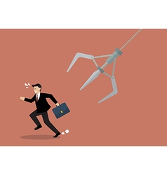 Businessman running away from robotic claw vector