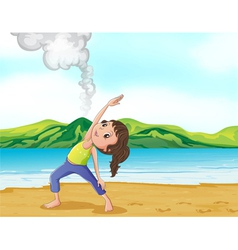A girl exercising near the volcano vector image