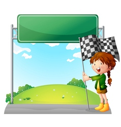 A girl holding a racing flag vector image vector image