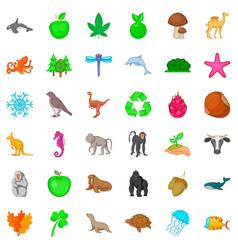 Animal species icons set cartoon style vector