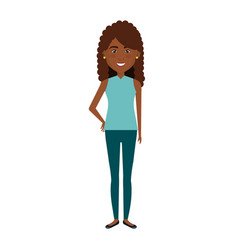 Beautiful and young woman black character vector