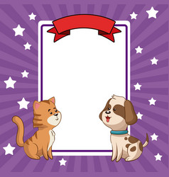 Beauty tiger and dog card decoration vector