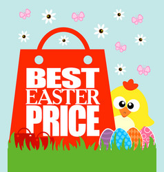 Best easter price card funny chicken vector