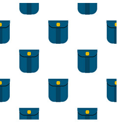 Blue shirt pocket with yellow button pattern flat vector