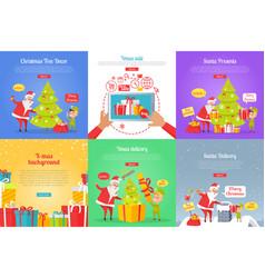 christmas tree decor xmas sale santa presents vector image vector image