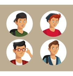 Collection teens boy students style vector