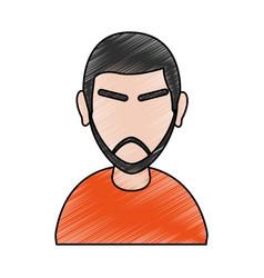 Color pencil cartoon half body faceless man with vector