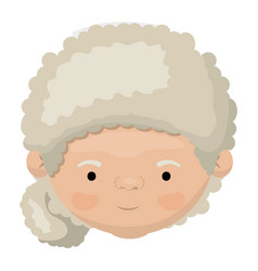 colorful face of grandmother with a curly bun side vector image