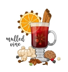 Composition on white with mulled wine vector