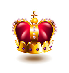 crown with cross and pink pearls isolated on white vector image