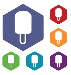 Eskimo icon colored hexagon set vector