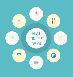 Flat icons halitosis brace dental crown and vector