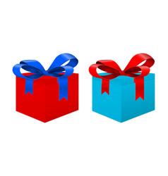 Gift box blue and red vector