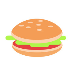 hamburger with meat and salad flat icon vector image vector image