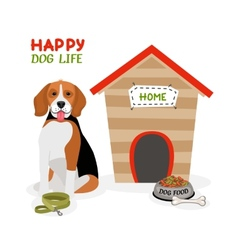 Happy Dog Life poster design vector image vector image
