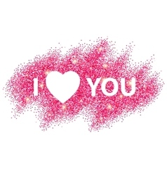 I love you message and heart golden glitter design vector image vector image