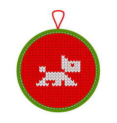 Knitted christmas decoration dog vector