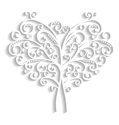 Lacy tree in the form of heart vector