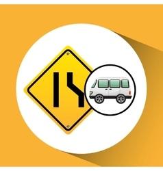 Micro bus with narrows road vector