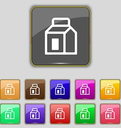 Milk juice beverages carton package icon sign set vector