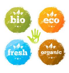 Organic eco food creative rough design concept vector