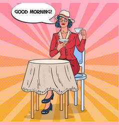 pop art beautiful woman drinking tea in cafe vector image vector image