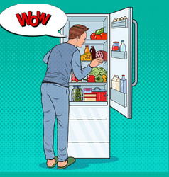 pop art man looking inside fridge full of food vector image