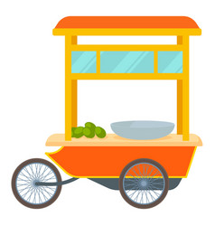 Red fast food trolley bike icon cartoon style vector