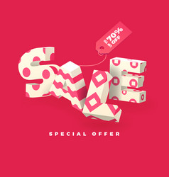 sale 3d sign pink invert vector image