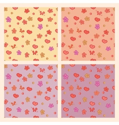 Seamless pattern hearts flowers vector image
