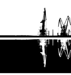 Seaport silhouette reflection vector