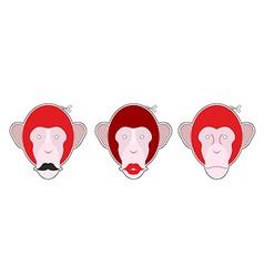 Set mask red monkey Monkey with moustache Monkey vector image