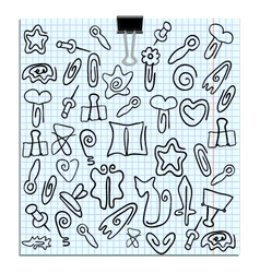 Set of paper clips of various shapes vector