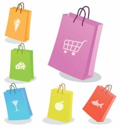 six shopping bags vector image vector image