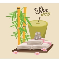 Spa beauty and health candle towels bamboo vector