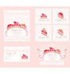 sweet dessert cake card set vector image