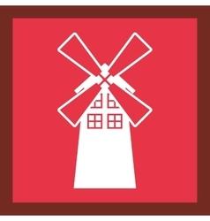 Windmill farm building icon vector