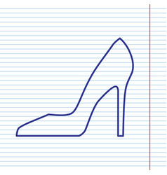 Woman shoe sign navy line icon on vector