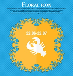zodiac Cancer icon Floral flat design on a blue vector image