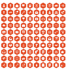 100 internet marketing icons hexagon orange vector
