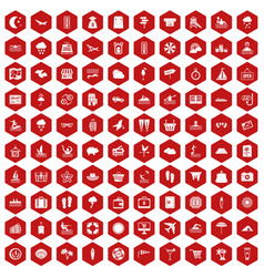 100 seaside resort icons hexagon red vector