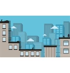 Silhouette of city landscape flat vector