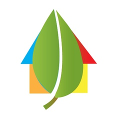 House and leaf logo vector image