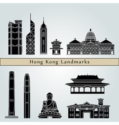 Hong Kong V2 landmarks and monuments vector image