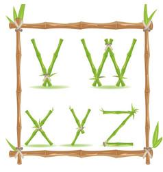 bamboo letter alphabet green set f vector image
