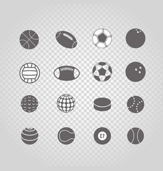 Sport ball silhouettes collection set isolated on vector